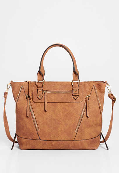 Brown Zipper Crossbody Tote Bag