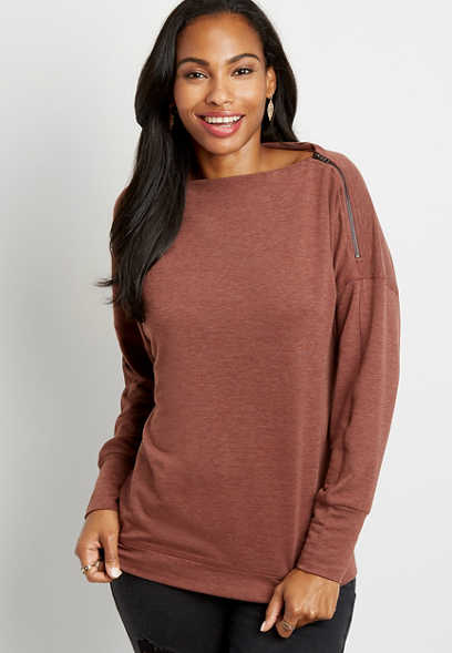 Solid Zipper Shoulder Pullover