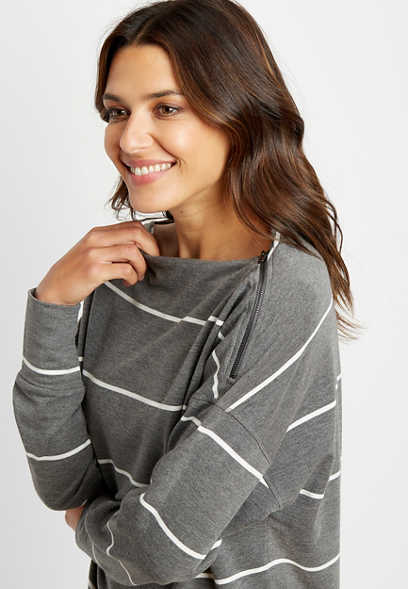 Gray Stripe Zipper Shoulder Pullover
