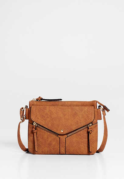 Brown Snakeskin Zipper Crossbody Bag