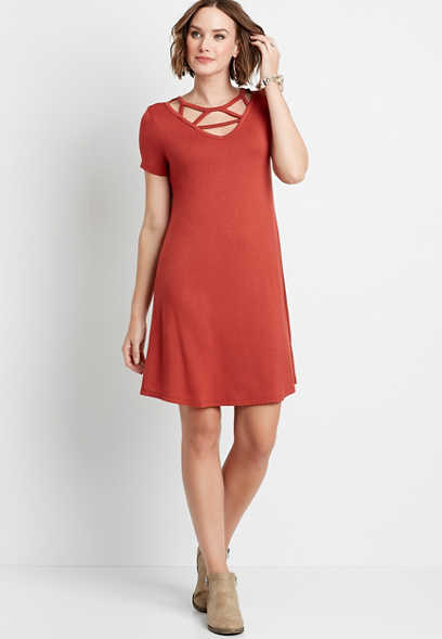 Maurices Solid Strappy Neck Shirt Dress