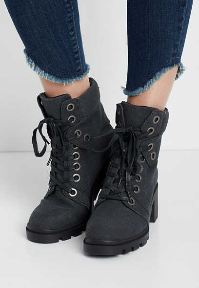 Colby Dark Gray Eyelet Lace Up Hiker Boot