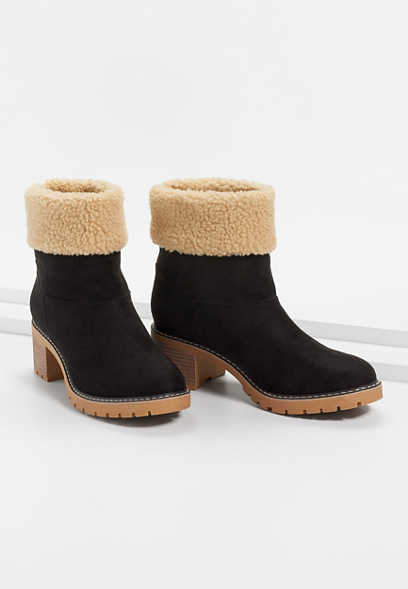 Christa Black Sherpa Collar Pull On Ankle Bootie