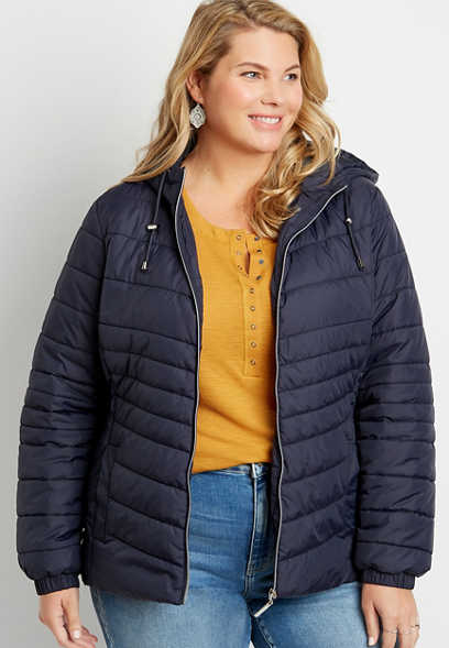 Plus Size Navy Lightweight Fitted Puffer Outerwear Jacket