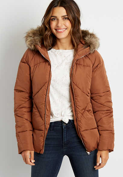 Orange Puffer Faux Fur Trim Short Hooded Outerwear Jacket