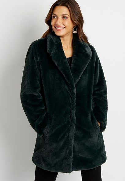 Dark Green Faux Fur Outerwear Jacket
