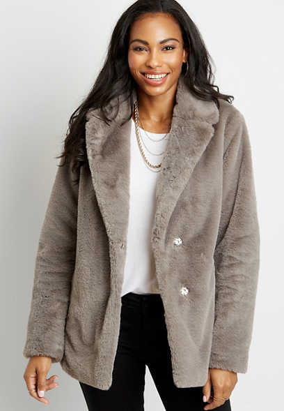 Light Gray Faux Fur Outerwear Jacket