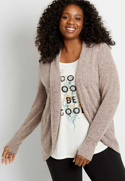 Plus Size Solid Brushed Open Front Cardigan