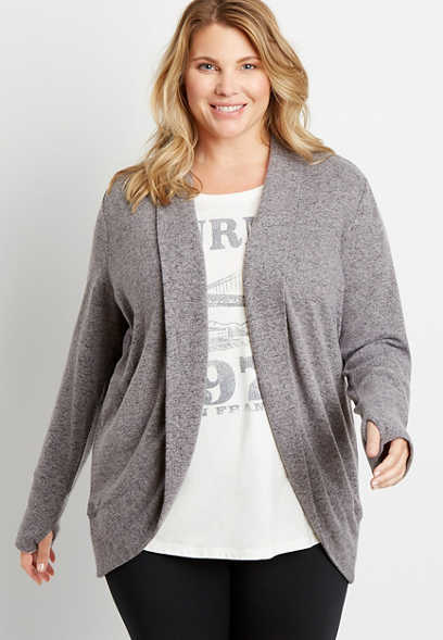 Plus Size Heather Gray Open Front Cardigan