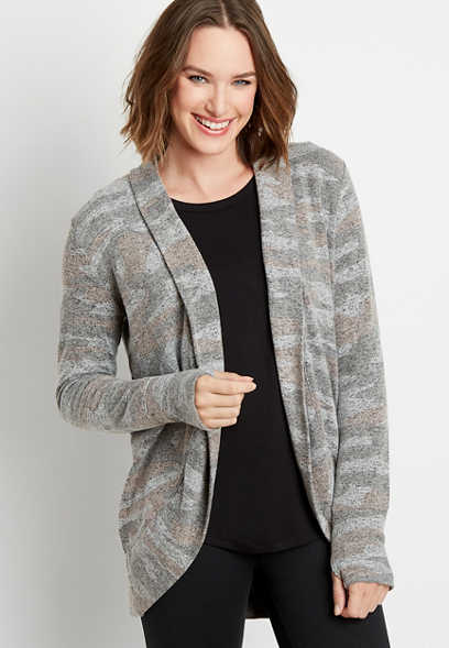 Camo Print Open Front Cardigan