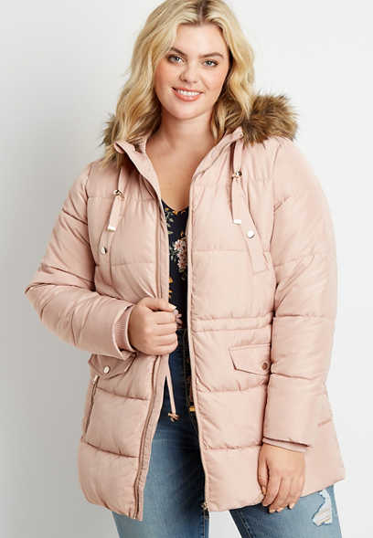 Plus Size Pink Drawcord Waist Puffer Faux Fur Hooded Outerwear Jacket