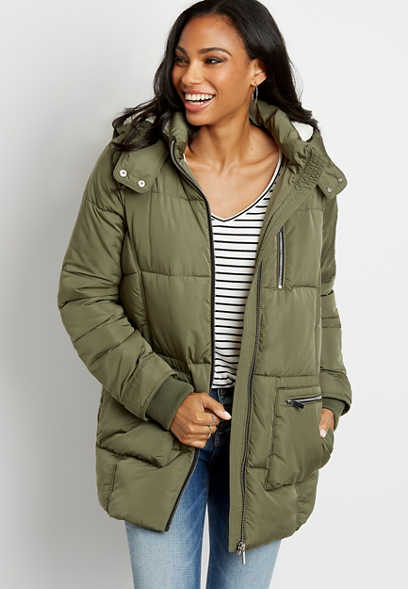 Olive Sherpa Lined Hooded Puffer Outerwear Jacket