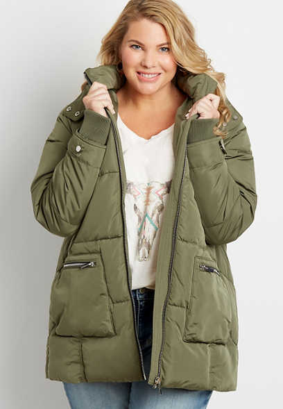 Plus Size Olive Sherpa Lined Hooded Puffer Outerwear Jacket