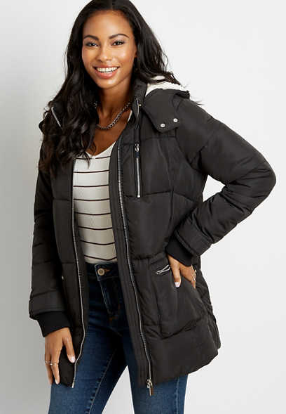 Black Sherpa Lined Hooded Puffer Outerwear Jacket