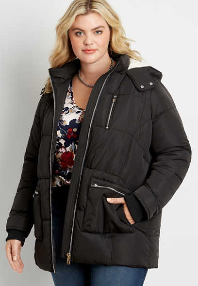 Plus Size Black Sherpa Lined Hooded Puffer Outerwear Jacket