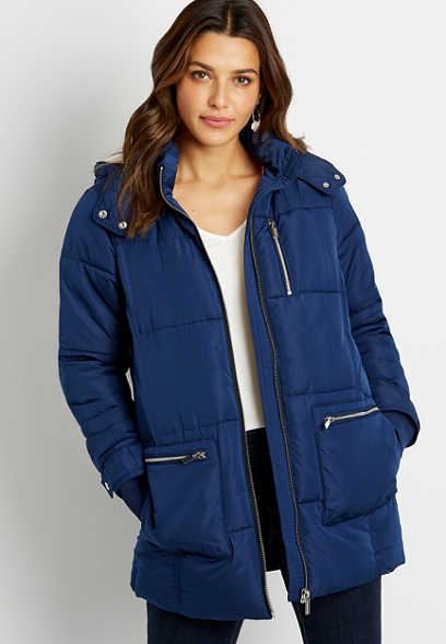 Blue Sherpa Lined Hooded Puffer Outerwear Jacket