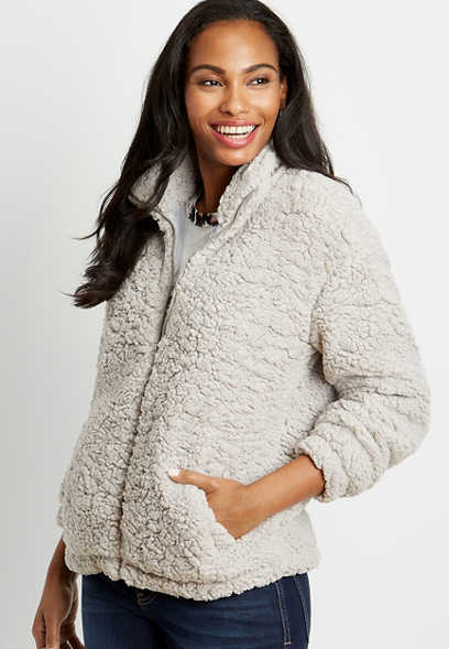 Gray Sherpa Zip Up Jacket