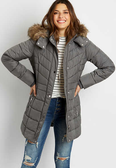 Gray Puffer Faux Fur Trim Hooded Outerwear Jacket