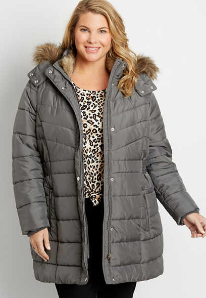 Plus Size Gray Puffer Faux Fur Trim Hooded Outerwear Jacket