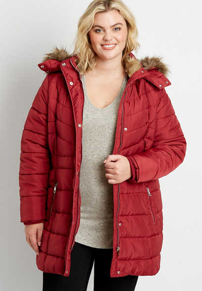 Plus Size Wine Puffer Faux Fur Trim Hooded Outerwear Jacket