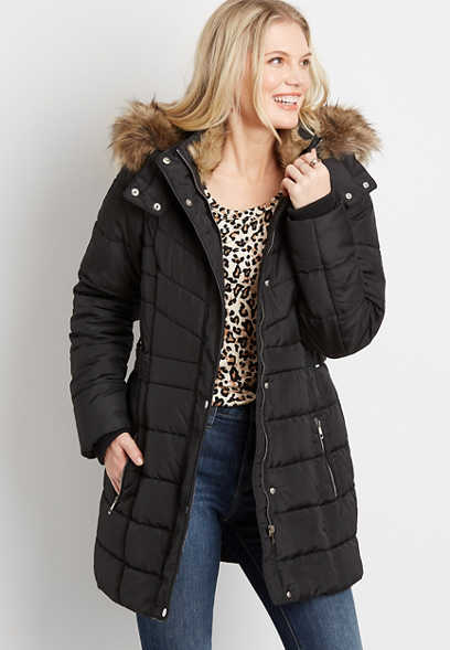 Black Puffer Faux Fur Trim Hooded Outerwear Jacket