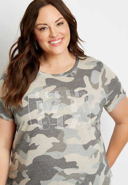 Plus Size Camo North Dakota State Graphic Tee