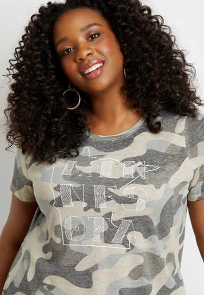 Plus Size Camo Minnesota State Graphic Tee