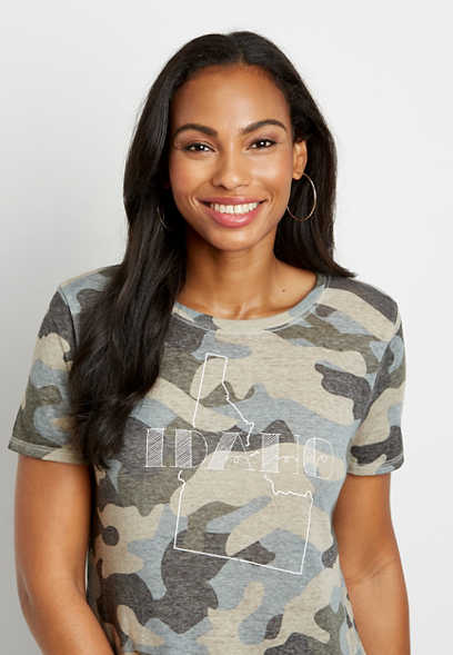 Camo Idaho State Graphic Tee