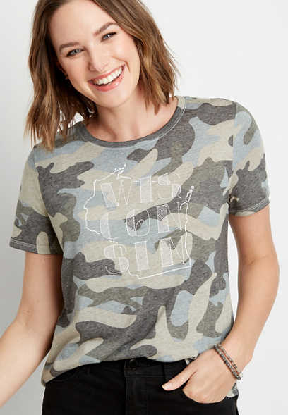 Camo Wisconsin State Graphic Tee