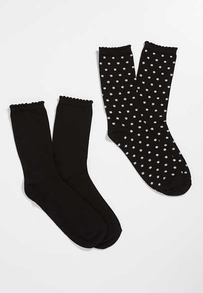 Black 2 Pack Crew Socks