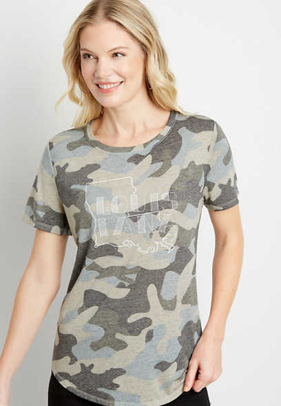 Camo Louisiana State Graphic Tee