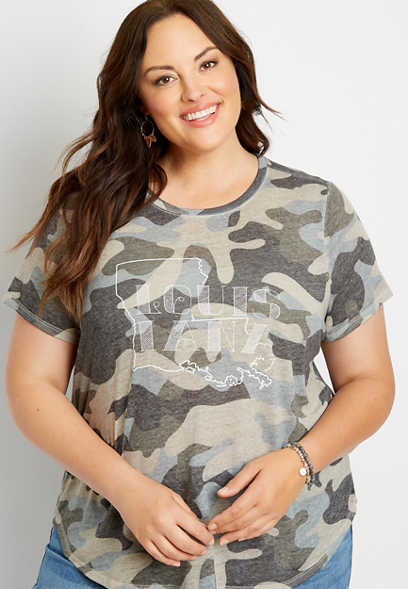 Plus Size Camo Louisiana State Graphic Tee