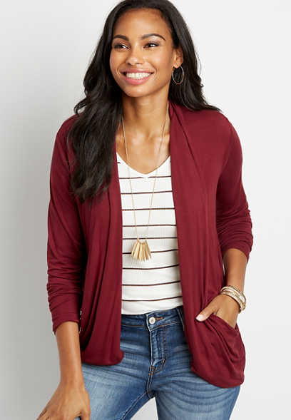 Solid Long Sleeve Slouchy Pocket Cardigan
