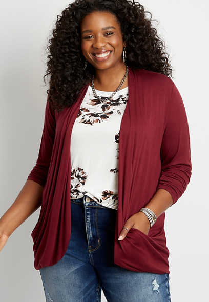 Plus Size Solid Long Sleeve Slouchy Pocket Cardigan