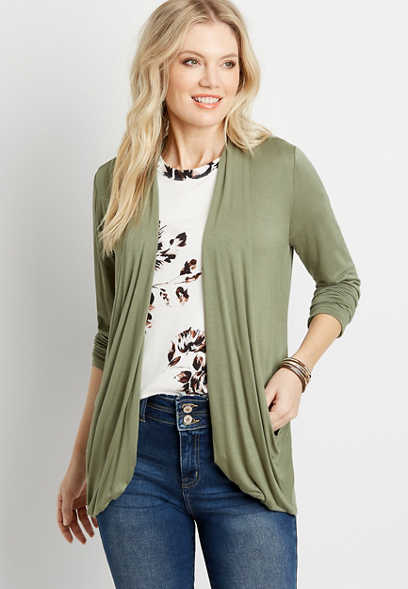 Green Long Sleeve Slouchy Pocket Cardigan