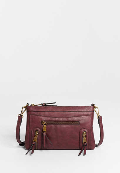 Burgundy Zipper Crossbody Bag