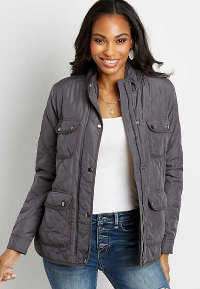 Gray Sherpa Lined Quilted Jacket