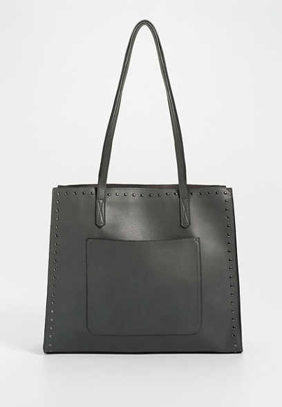 Gray Studded Tote Bag