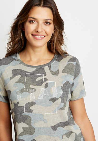 Plus Size Camo Utah State Graphic Tee