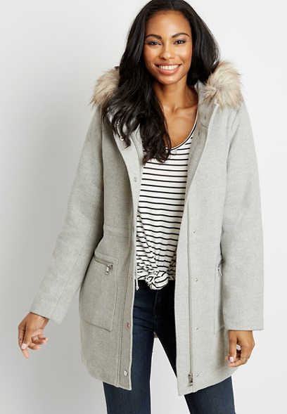 Gray Faux Fur Trim Hooded Outerwear Jacket