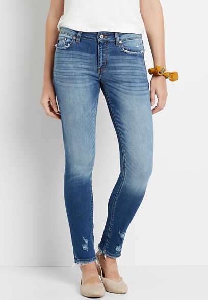 KanCan™ Medium Destructed Hem Skinny Jean