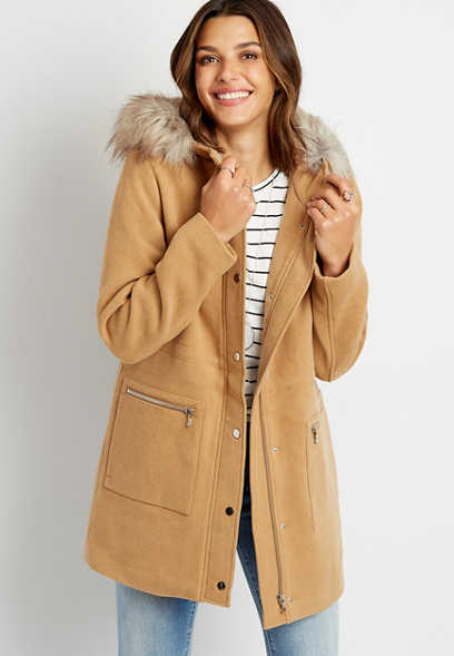 Solid Faux Fur Trim Hooded Outerwear Jacket
