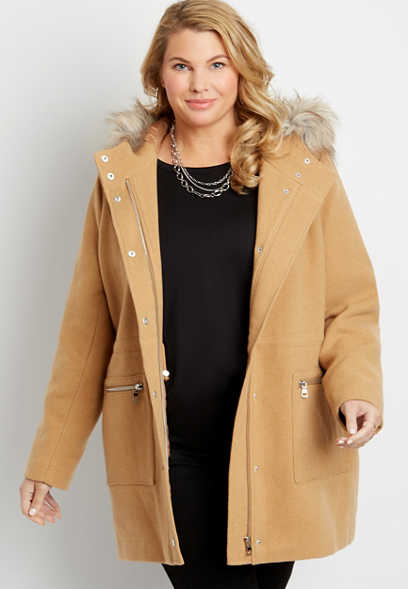 Plus Size Solid Faux Fur Trim Hooded Outerwear Jacket