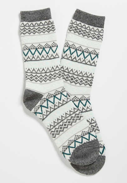 Gray Fair Isle Crew Sock