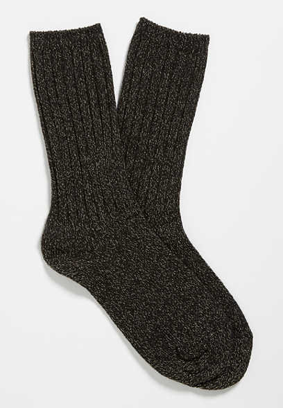 Black Ribbed Metallic Crew Socks