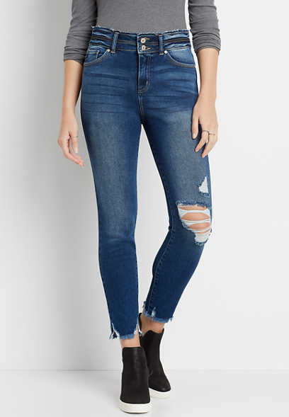 KanCan™ High Rise Destructed Stacked Waist Skinny Ankle Jean