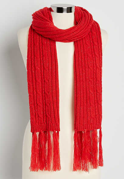Red Cable Knit Tinsel Oblong Scarf