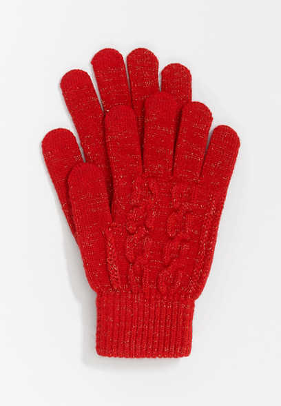 Red Cable Knit Finger Tech Knit Gloves