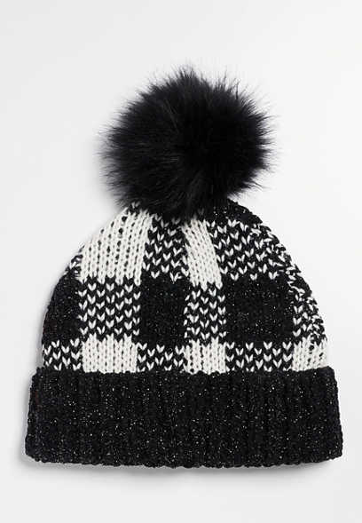 Metallic Black Buffalo Plaid Faux Fur Pom Hat