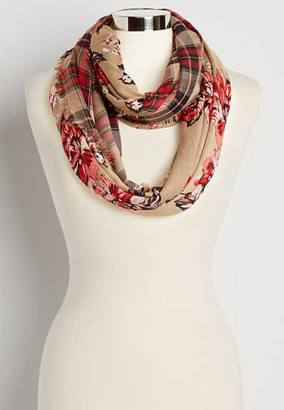Floral Plaid Reversible Infinity Scarf